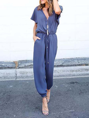 Solid Casual V neck Drawcord Jumpsuit