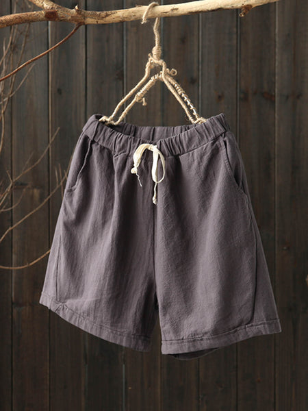 Casual Solid Cotton Pockets Summer Pants