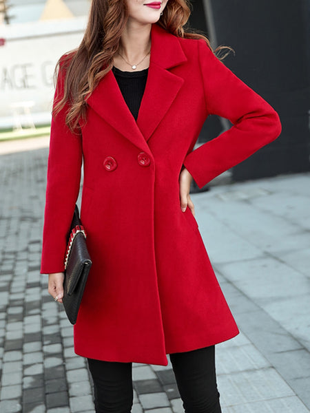 Elegant Long Sleeve Shawl Neck Solid Coat