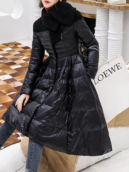 A-Line Casual Long Sleeve Turtleneck Coat