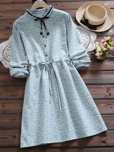 A-Line Date Casual Quilted Shirt-Collar Dress