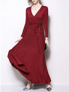 Solid Elegant Belts Long Sleeve Maxi Dress
