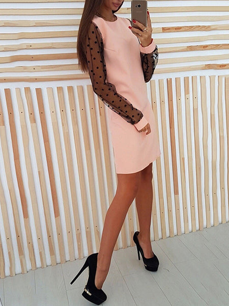 Solid Long Sleeve Crew Neck Paneled Dress