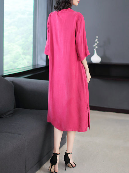 Shift Stand Collar Elegant Long Sleeve Dresses