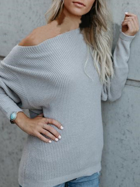 Gray Knitted Casual Shift Off Shoulder Sweaters