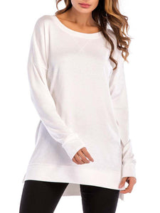 Cotton-Blend Casual Long Sleeve Crew Neck Blouse