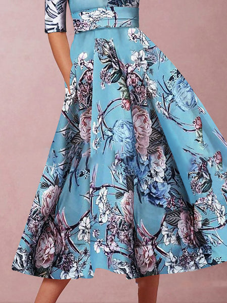 Blue Printed Elegant V Neck Evening Party Dress