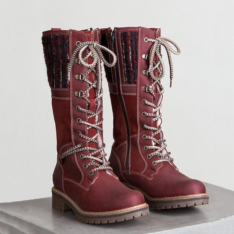 Women's Zipper Round Toe Casual Lace-Up Boots