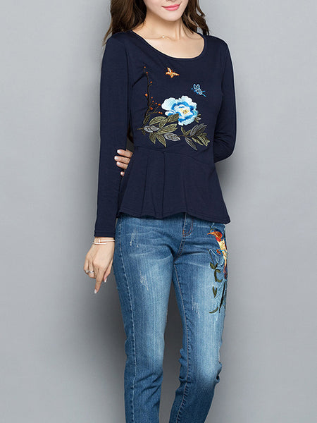 Crew Neck Casual Long Sleeve Daytime Paneled Blouse