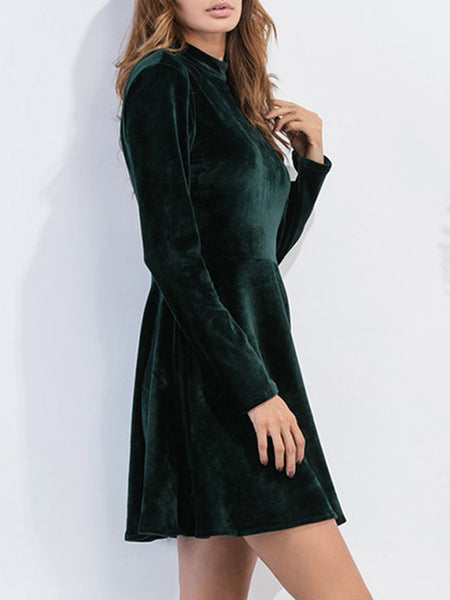 Daily A-Line Crew Neck Elegant Backless Dress