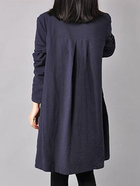 Shift Shirt Collar Casual Paneled Dress