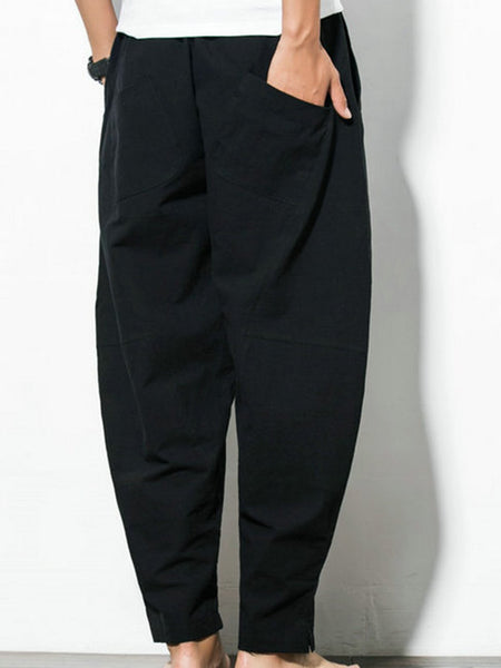 Unisex Pockets Solid Casual Plus Size Pants