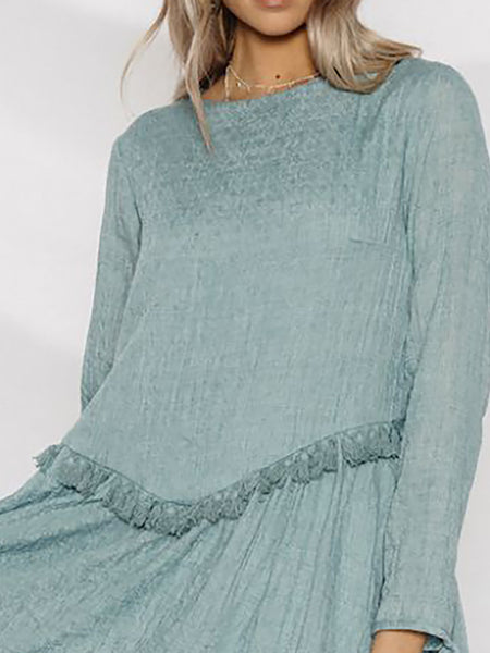 Basic Statement Solid Long Sleeve Crew Neck Dress
