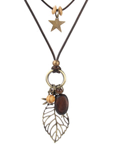Leaf Brown Alloy Leaf necklace