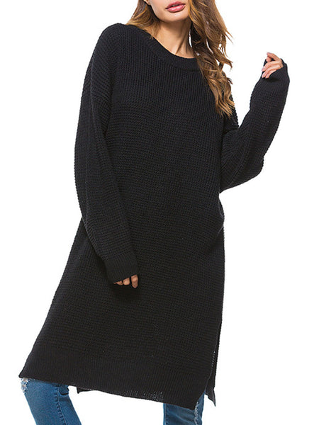Daily Shift Crew Neck Knitted Long Sleeve Casual Dress