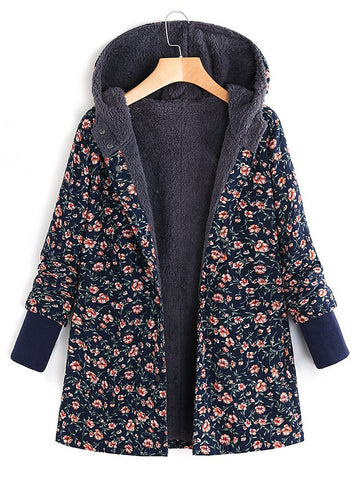 Casual Hooded Long Sleeve Shift Coat