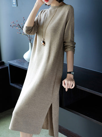 Daytime Shift Boat Neck Knitted Casual Dress
