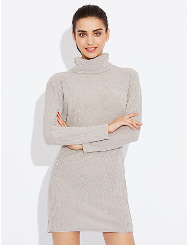 Solid Long Sleeve Casual Sexy Turtleneck Shift Knitted Sweaters