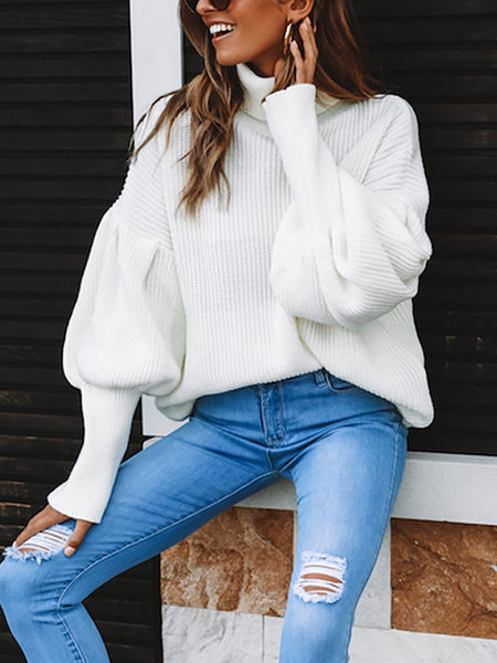 Casual Turtleneck Balloon Sleeve Solid Sweaters