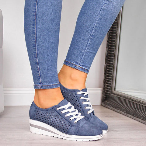 d3864a2f5d09f Faux Leather Hollow-Out Wedge Heel Sneakers
