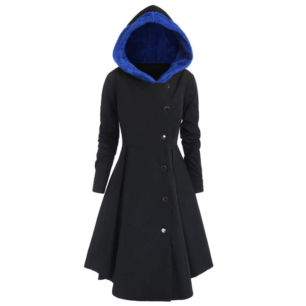 Casual Long Sleeve Hooded Pleated Buttoned Coat