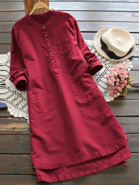 Casual Long Sleeve Stand Collar Maxi Dress