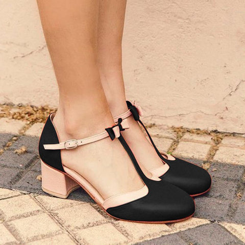 Summer Casual Chunky Heel Buckle Sandals