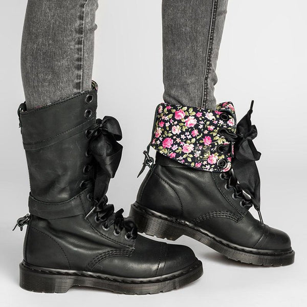 Vintage Lace-up Chunky Heeled Leather Boots