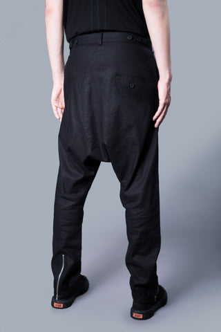 ASYMMETRIC BUTTON LINEN PANTS