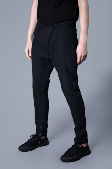 ASYMMETRIC BUTTON PIQUE PANTS - DUOLOGIA AW 18