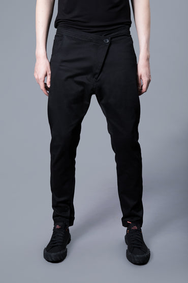 ASYMMETRIC BUTTON COTTON PANTS