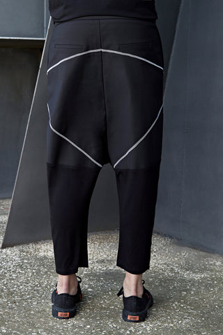 WHITE JERSEY LEG DROP CROTCH TROUSERS - DUOLOGIA AW18