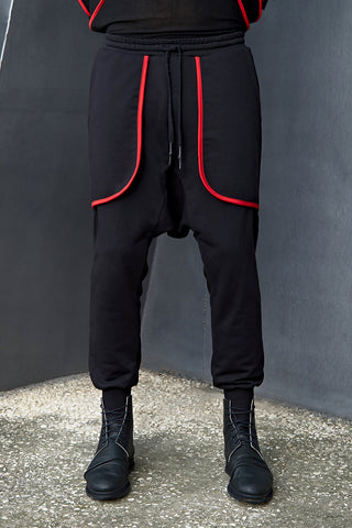 DRAWSTRING JOGGERS WITH RED BINDING