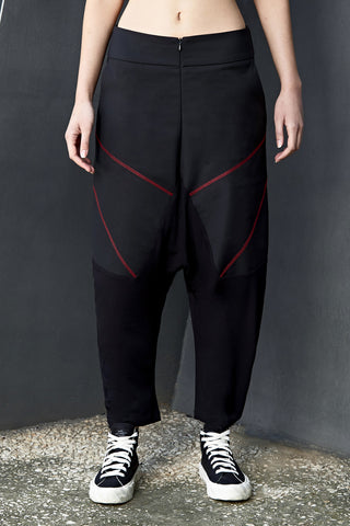 JERSEY LEG DROP CROTCH TROUSERS