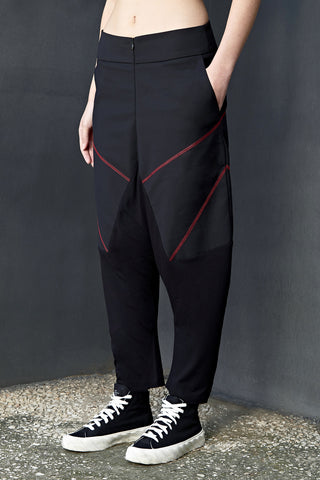 RED JERSEY LEG DROP CROTCH TROUSERS - DUOLOGIA AW18