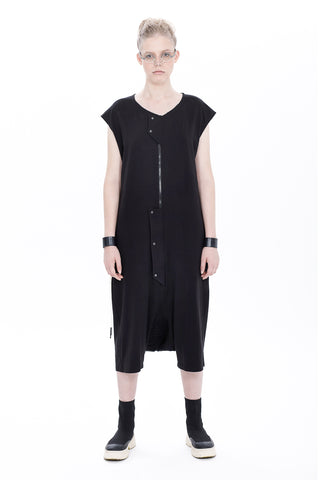 BS-BACK STITCHED SLEEVELESS DROP CROCH JUMPSUIT