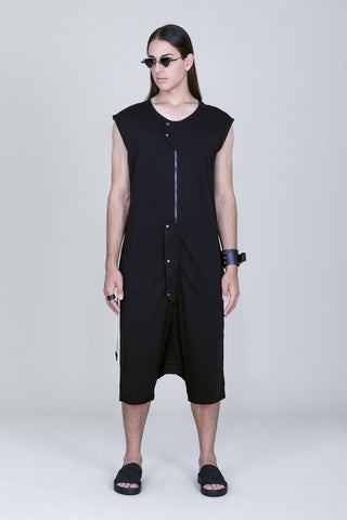 BACK STITCHED SLEEVELESS DROP CROCH JUMPSUIT