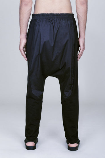 DROP CROTCH COTTON-BLEND PANTS