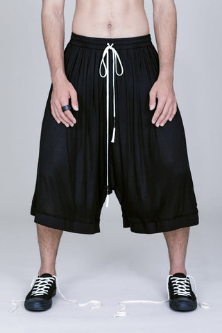 DROP RISE WIDE DRAWSTRING SHORTS