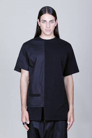 Asymmetric t-shirt with small pocket