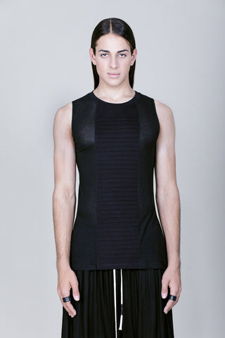 Longline see-trough tank top