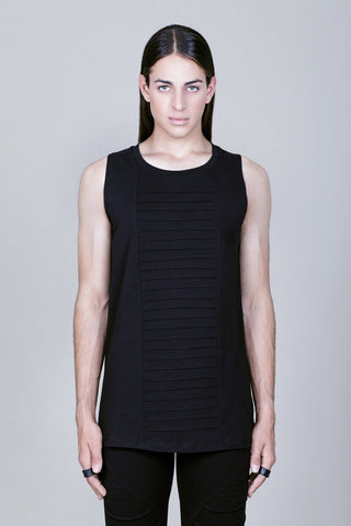 Black tank top with handmade stitching detail