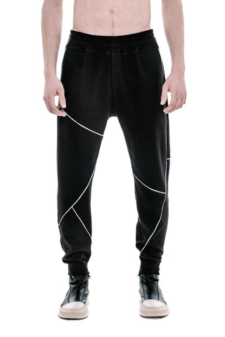 FLY 'O' CROSS THE LINES WHITE PIPED PIQUE JOGGERS