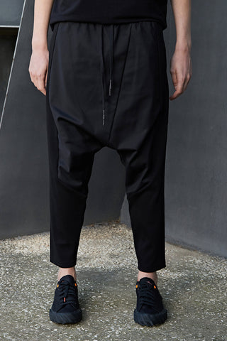 RIB-COTTON DROP CROTCH PANTS - DUOLOGIA AW18