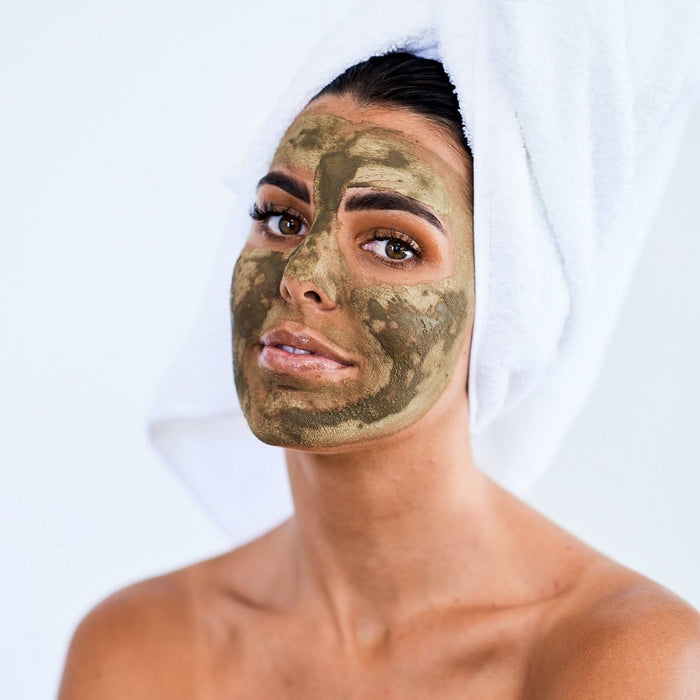 girl wearing nature talk's Australian made, natural cleansing australian green clay and matcha mask complete skin care