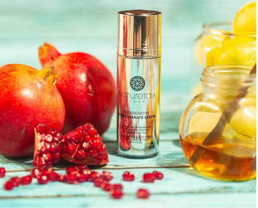 Australian made, natural pomegranate serum for complete skin care combines benefits of jojoba, helichrysum, sandalwood oil, castor, vitamin e, argan, patchouli oil for soft supple skin