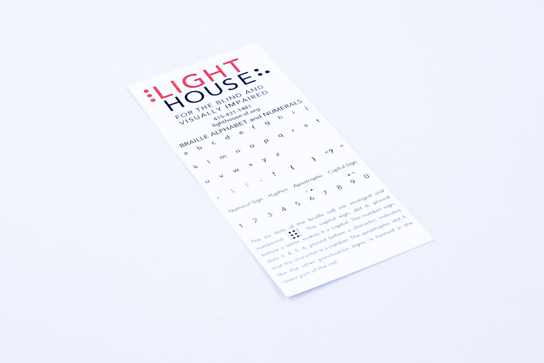 Lighthouse Braille Alphabet Card