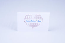 Load image into Gallery viewer, Happy Father's day heart card, with a heart made out of X's and O's.