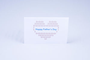 Happy Father's day heart card, with a heart made out of X's and O's.