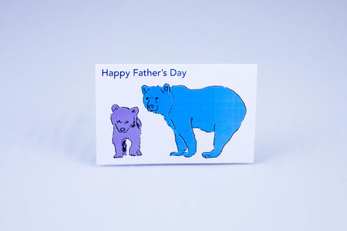 Father's day card with two bears. Baby bear is purple, and papa bear is blue.